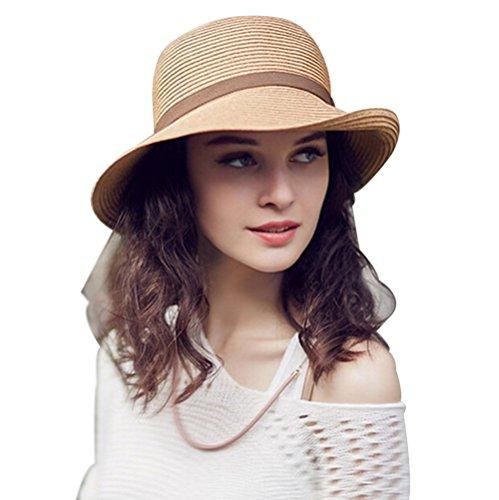 HomArt Women's Lightweight Side-flip Braided Panama Fedora Sun Straw Hat, Camel, L