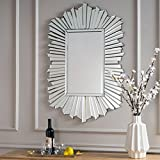 Christopher Knight Home 302632 Graydon Star Burst Rectangular Finished Wall Mirror Silver
