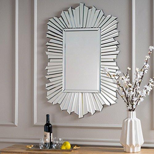 Christopher Knight Home 302632 Graydon Star Burst Rectangular Finished Wall Mirror, Silver