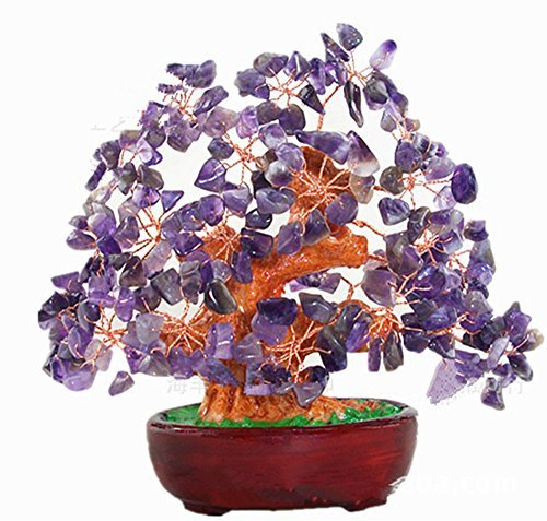 7 Inch Purple Crystal Money Tree Feng Shui Natural Amethyst Quartz Gem Stone Money (Quartz Gemstone Tree)