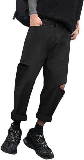BeiBang(バイバン)デニムパンツ メンズ ゆったり ダメージジーンズ 韓国 ファッション クラッシュパンツ デニムストリート系 ジーンズ 大きいサイズ ロングパンツ 黒