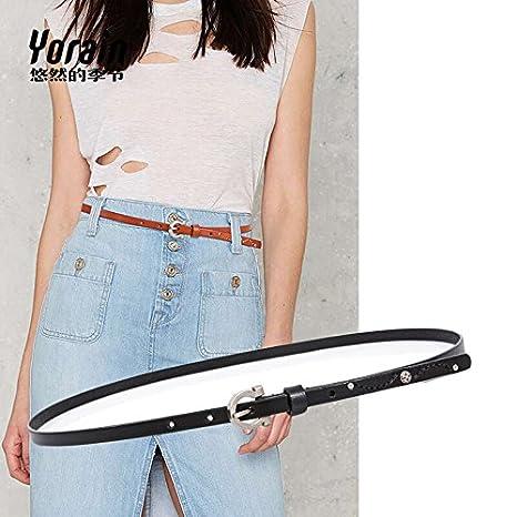 ea9d0e83babc YISIBA Mme ultra-fine ceinture fine ceinture en cuir arts sauvages équipée  de nouage cuir jupe innocence broches , noir, 103cm ceinture de préhension   ...