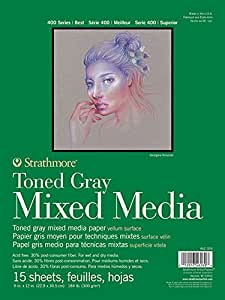 "Strathmore 400 Series Toned Mixed Media Pad, Glue Bound, 15 Sheets per Pad, Gray, 11"" x 14"""