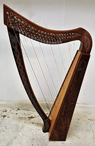 22 Nylon Strings Harp Metal hardware Solid Wood with hand Engraved with Free Carrying Case by Sturgis