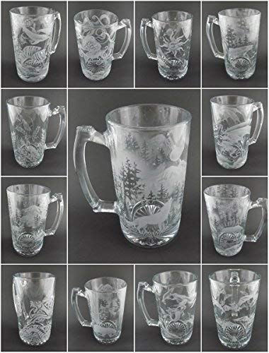 IncisoArt Hand Etched 25 Ounce Champions Beer Mug Sandblasted (Sand Carved) Handmade Glass Stein (Trout Fish Forest Mountains)