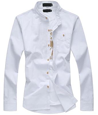 579c4b3cd55b Plaid&Plain Men's Mandarin Collar Long Sleeve Slim Linen Cotton Shirt 3#  White XS