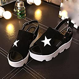 Alonea Fashion Women Fish Mouth Casual Shoes Platform Wedges Five-Star Sandals Shoes (7.5, Black)