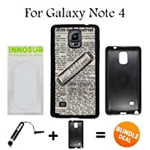 Vintage Harmonica on Newspaper Custom Galaxy Note 4 Cases-Black-Plastic,Bundle 2in1 Comes with Custom Case/Universal Stylus Pen by innosub
