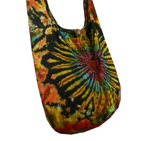 BTP! Heart Tie Dye Sling Crossbody Shoulder Bag Purse Hippie Hobo Cotton Gypsy Bohemian VK14 - Queen Of Hearts Purse