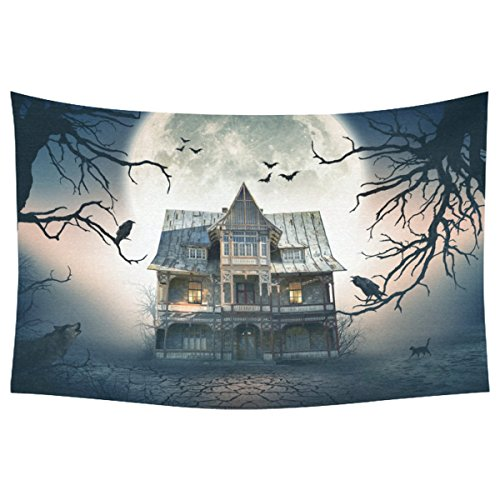 (INTERESTPRINT Happy Halloween Home Decor Tapestries Wall Art, Haunted House Full Moon Tapestry Wall Hanging Art Sets 60 X 40 Inches)