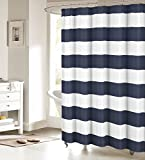Nautical Stripe Design Waterproof Fabric Shower Curtain Antibacterial Curtains - Navy and White 72' x 96'