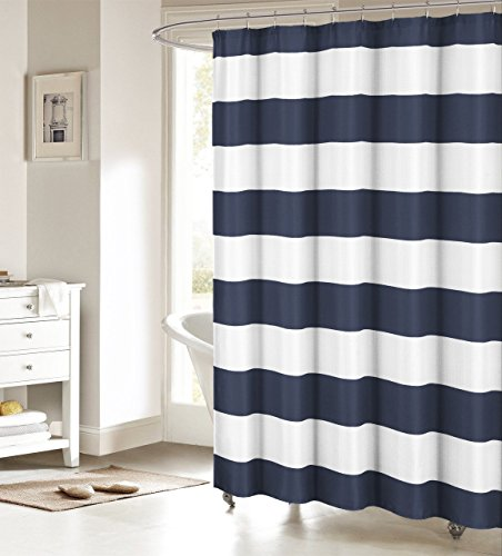 Fabric Shower Curtain: Nautical Stripe Design (Navy and White) 70