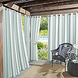 "Sun Zero Valencia Cabana Stripe Indoor/Outdoor UV Protectant Energy Efficient Grommet Curtain Panel, 54"" x 84"", Soft Teal"