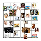 Ecjiuyi 4 Pcs Multifunction Metal Mesh Wire Grid Panel,Wall Frame & Photo Hanging Display & Wall Art Organizer with 30 Clip and 8 Non-trace Nail for Living Room Dorm Office Decor