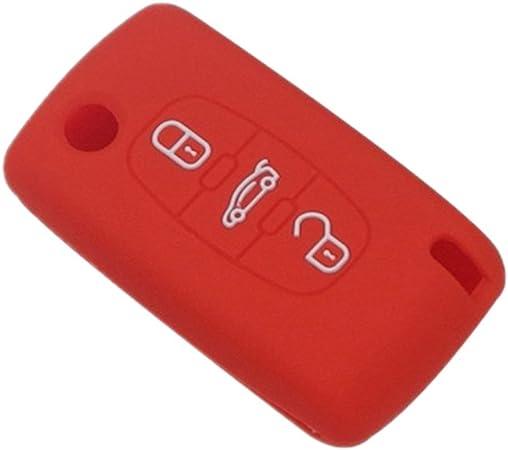 Happyit Silikon Auto Schlüssel Fall Abdeckung Für Peugeot Rcz 107 206 207 208 306 307 308 407 408 508 Für Citroen C1 C2 C3 C4 C5 C6 C8 3 Tasten Faltenschlüssel Rot Auto