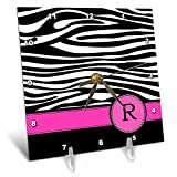 3dRose dc_154289_1 Letter R Monogrammed Black and White Zebra Stripes Animal Print with Hot Pink Personalized Initial Desk Clock, 6 by 6-Inch