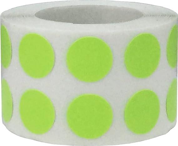 Verdes Calientes Pegatinas Circulares, 13 mm 1/2 Pulgadas Etiquetas de Puntos 1000 Paquete