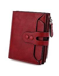 UTO Women's RFID Blocking PU Matte Leather Wallet Card Holder Organizer Girls Coin Purse with Snap Closure