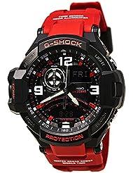 Casio G-Shock Aviation Black Dial Red Resin Quartz Mens Watch GA1000-4B