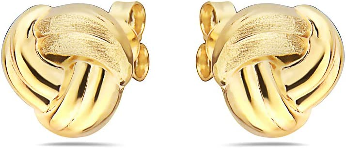 Pori Jewelers 14K Solid Gold Love Knot Stud Earrings-with Real 14K Gold Butterfly Backings