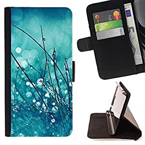 Momo Phone Case / Flip Funda de Cuero Case Cover - Gouttes de pluie Blurry Mint Green - Sony Xperia Z5 5.2 Inch (Not for Z5 Premium 5.5 Inch)