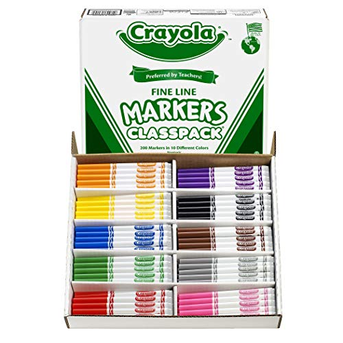 Crayola 200 Ct Fine Line Markers, 10 Assorted Colors (58-8210) -