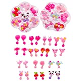 JZK 14 Pairs plastic pink cute girls clip on earrings set toy jewelry for 4-7 years old girls birthday gift party favours thank you gift