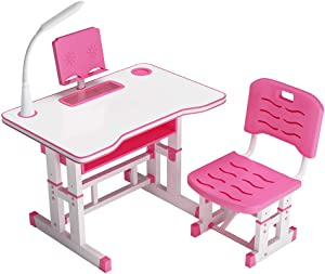 Kids Desk and Chair Set, Height Adjustable Children Study Desk and Chair Set Pull Out Drawer with Tilted Desktop, Student Functional Writing Table for Boys Girls, Home Office Desk Computer Desk