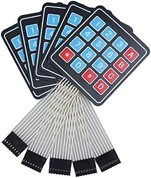 Demiawaking - 5 teclados numéricos con botones de membrana, matriz 4 x 4, 16 teclas, para Arduino