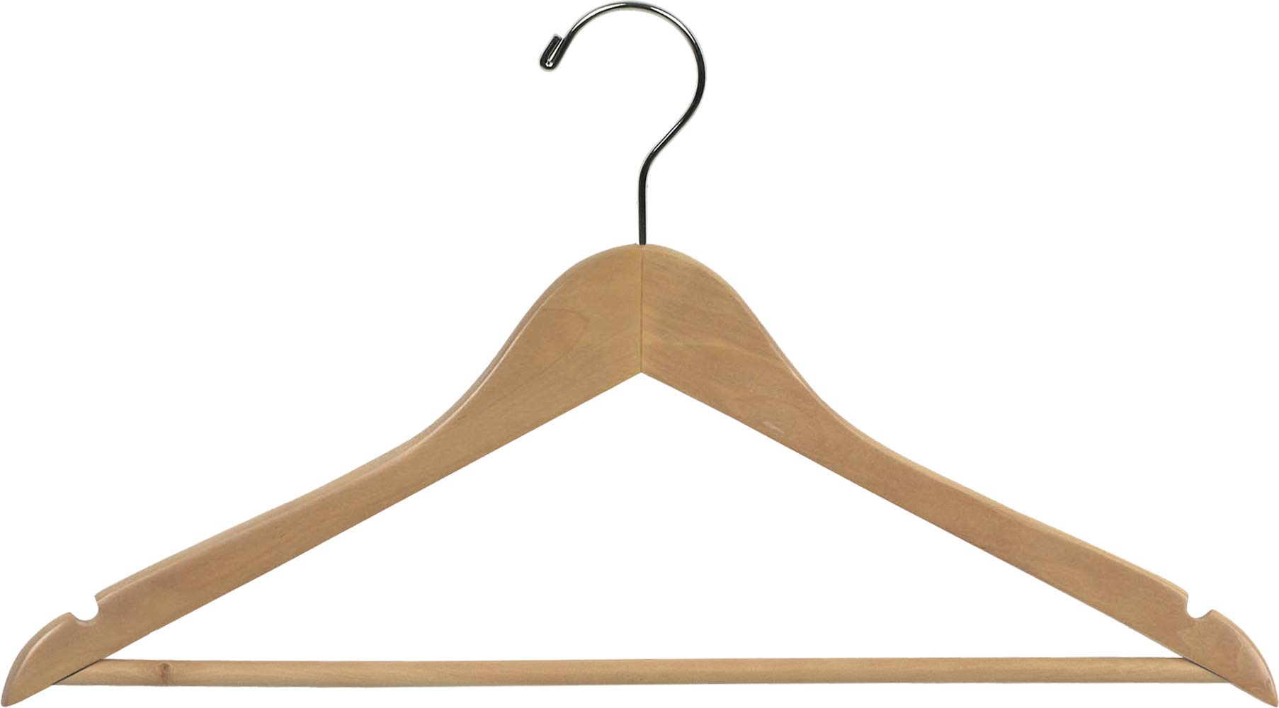 The Great American Hanger Company Wood Suit Hanger w/Solid Wood Bar, Box of 100 Space Saving 17 Inch Flat Wooden Hangers w/Natural Finish & Chrome Swivel Hook & Notches for Shirt Dress or Pants by The Great American Hanger Company