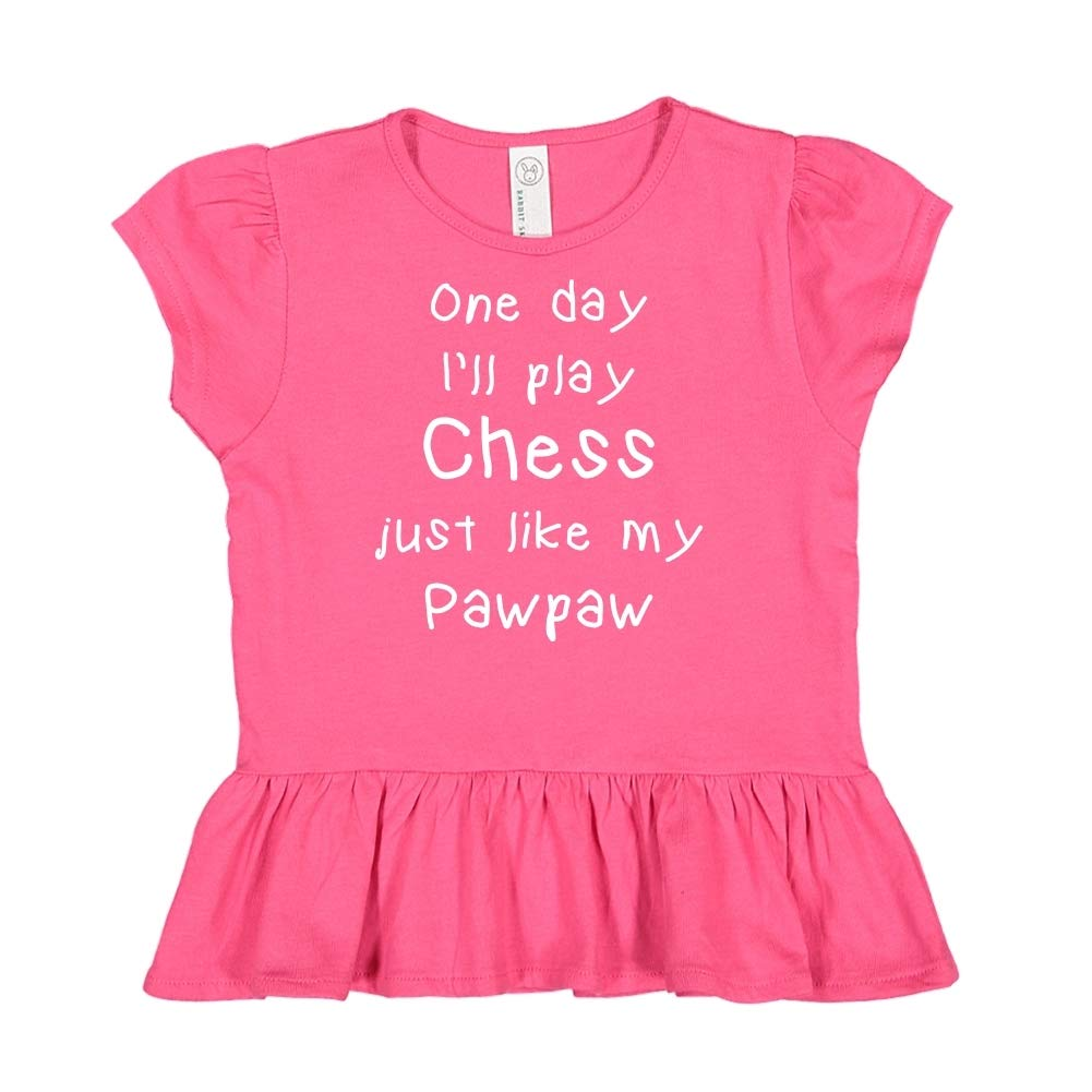Toddler//Kids Ruffle T-Shirt One Day Ill Play Chess Just Like My Pawpaw