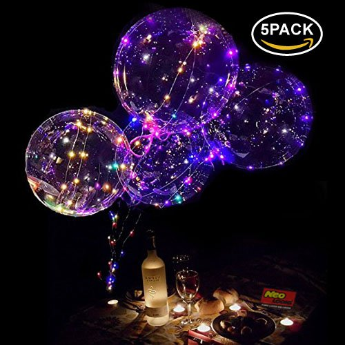 LED Light Up Balloons,18 Inch Helium LED Bobo Balloons for Christmas,Wedding,Birthday Party Decorations(Colorful,5 Pack)