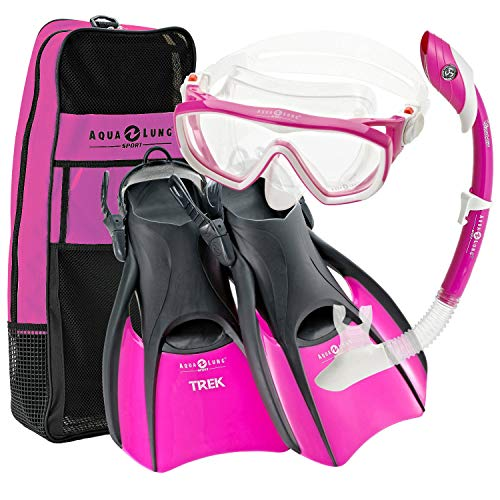 Island Dry Snorkel - Aqualung Snorkel Set with Sport Diva 1 Lx Mask, Island Dry Snorkel and Trek Fin, Pink, Small (Ladies 5-8)