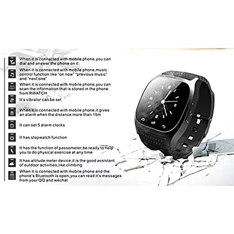 GIMTVTION M26 Bluetooth Smart Watch,Unlocked Watch Cell Phone with Passometer Monitor SMS Wristwatch,Waterproof Smartwatch for Android Samsung iOS ...