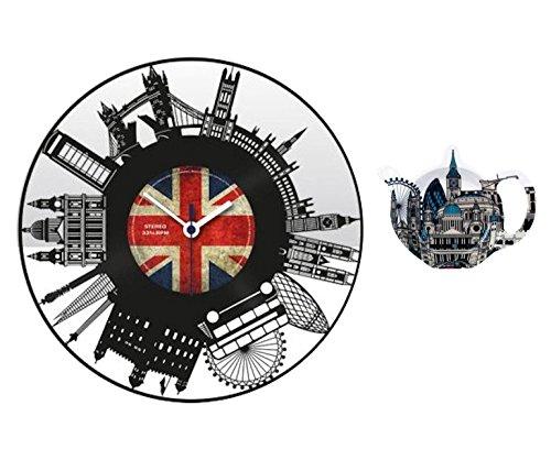 (DangerousFX London Record LP Wall Clock Union Jack/Bridge/Telephone/Bus +Iconic Tea Bag)