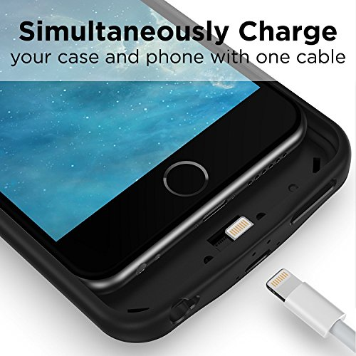 PowerBear Battery condition iPhone 6 iPhone 6S 5000 mAh External Rechargeable Charger Pack for Apple iPhone 6 and 6S Up to 275 Extra Battery BLACK 24 Month warrantee bundled Battery Charger Cases