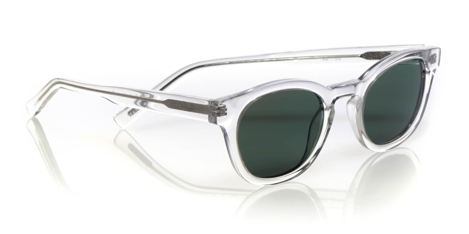eyebobs Laid Unisex Premium Polarized Sunglasses, Crystal Front and Temples with Green Polarized Lenses