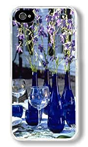 Cups And Dark Blue Vase Custom iPhone 4S Case Back Cover, Snap-on Shell Case Polycarbonate PC Plastic Hard Case Transparent