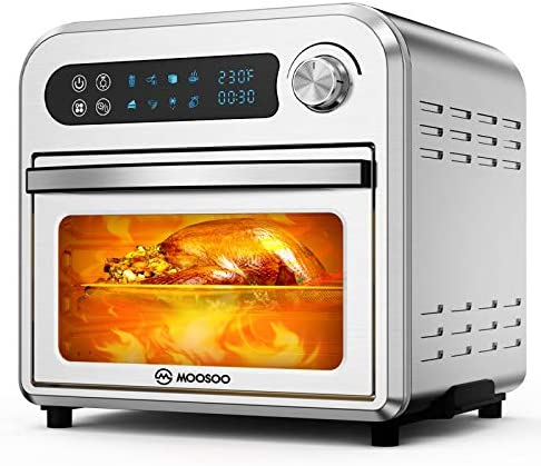 MOOSOO 8-in-1 Air Fryer Oven, 10.6 QT Electric Air Fryer Toaster Oven with LED Digital Touchscreen, Dehydrator, Bake, Broil, Oil-Less Oven with Temperature&Time Dial, Stainless Steel Body, 4 Accessories & 100 Recipes, 1500W