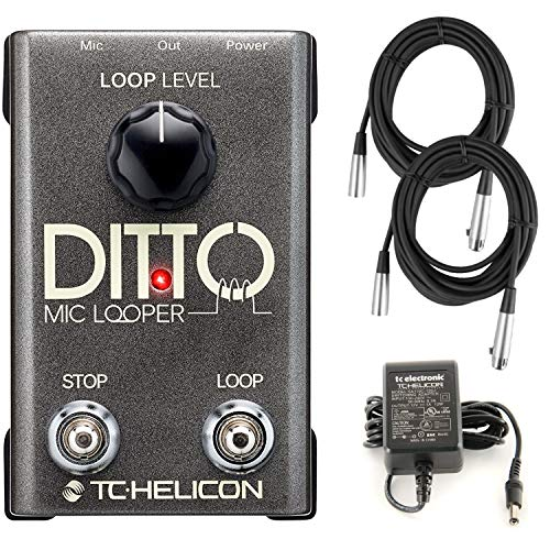 TC Helicon Ditto Mic Looper Pedal for Vocals with XLR Microphone Cables (Best Vocal Processor Pedal)