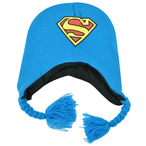 DC Comics Superman Man of Steel Peruvian Knit Beanie Laplander Hat Kids Hero (Peruvian Knit Laplander)