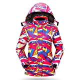 FENGXUELANG Snow-Wolf New Women Winter Warm Windproof Waterproof Breathable Ski Suit Jacket (M (US), Rose Red)