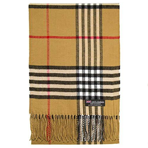 2 PLY 100% Cashmere Scarf Tartan OS Big Check Plaid Scotland Wool Wrap Muffler
