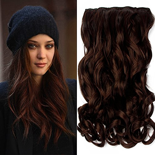 """Neverland Beauty 22"""" 3/4 Full Head One Piece Clip in Wavy Curly Hair Extensions Brown Medium Brown from Neverland Beauty & Health"""