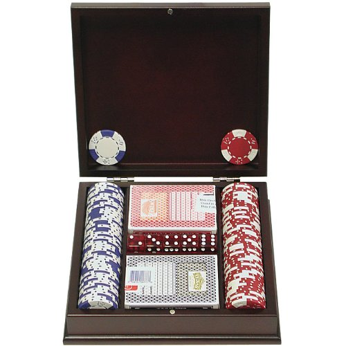 Lucky Crown Poker Chip Set with Mahogany Case (100-Piece), 11.5gm