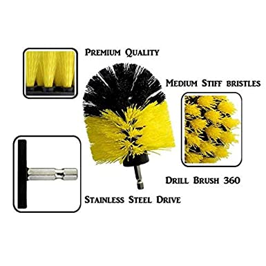 Yellow BestParnter Drillbrush 3Pcs Scrub Brush Drill Attachment Kit,Time Saving Kit And Power Scrubber Cleaning Kit For Car Wooden Floor Bathroom Laundry Room Cleaning