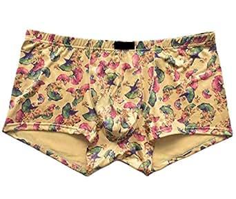 Men Soft Breathable Leaf Print Underpants Underwear Boxer Briefs 1 L