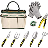 9 Piece Gardeners Tool Set, Gardening Tool Sets with Gloves 6 Heavy Cast Aluminum Heads and Garden Tote