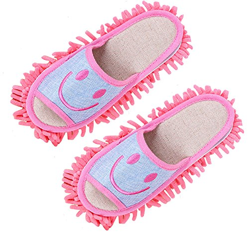 Smile Microfiber Washable Dust Mop Slippers Floor Cleanning,Washable,Reusable 9 Size Blue,Pink,Brown ()