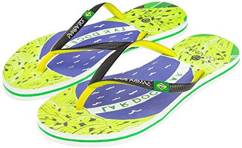Samba Sol Mens Flagga Samling Flip Flops - Modet Och Bekväma. Trendiga Och Klassiska Sandaler För Mens. Brazil Konst